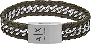 Armani Exchange Braided Leather Chain Bracelet