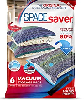 Spacesaver Premium Vacuum Storage Bags. 80% More Storage! Hand-Pump for Travel! Double-Zip Seal and Triple Seal Turbo-Valv...