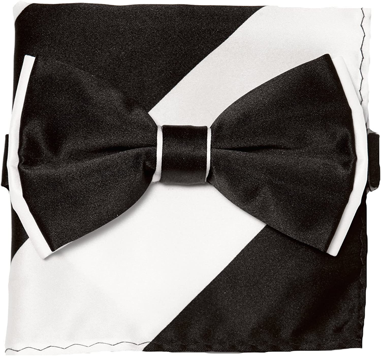 Beige Men/'s Solid Straight Cut Bow tie /& Pocket Square Hanky Wedding 10P