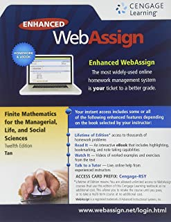 WebAssign Printed Access Card for Tan's Finite Mathematics for the Managerial, Life, and Social Sciences, 12th Edition, Single-Term