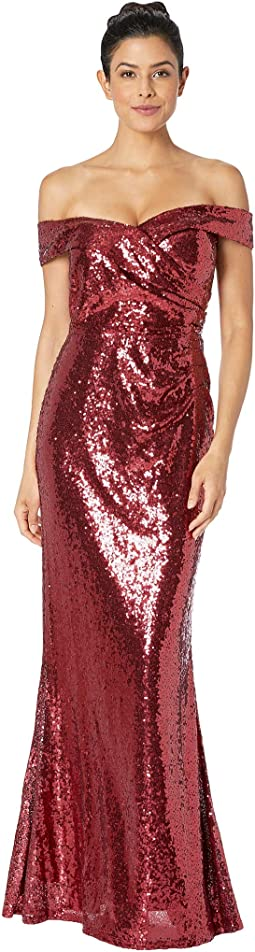 Sequined Off the Shoulder Gown