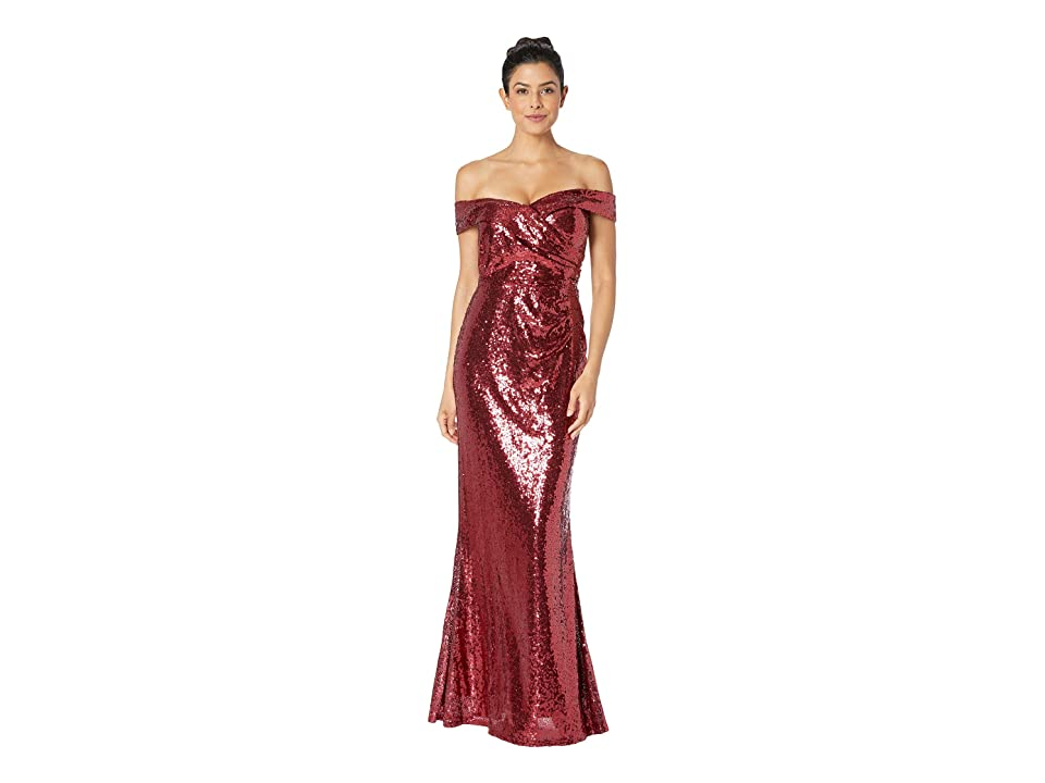 MARINA Sequined Off the Shoulder Gown (Ruby) Women