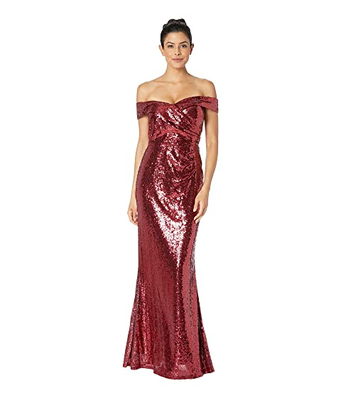 MARINA Sequined Off The Shoulder Gown, Ruby