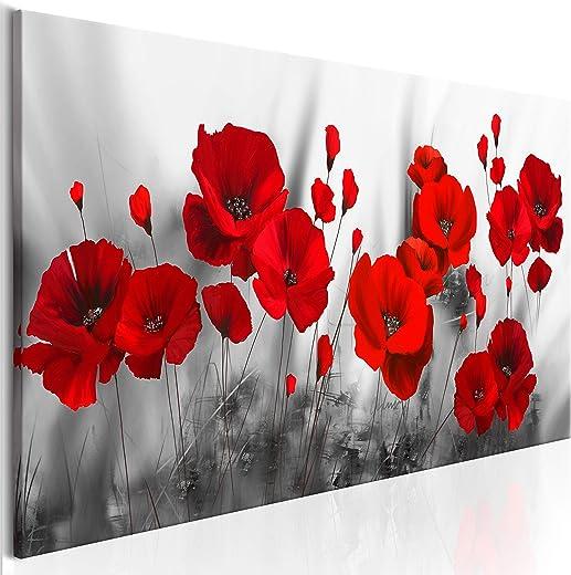 decomonkey Bilder Blumen Mohnblumen rot 120×40 cm 1 Teilig Leinwandbilder Bild auf Leinwand Vlies Wandbild Kunstdruck Wanddeko Wand Wohnzimmer…