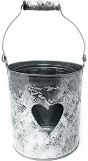 Galvanized Tin Bucket with Glass Jar Candle Holder. Heart Shaped Window for Candle Lihgt.