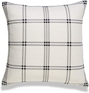 "Hofdeco Modern Boho Decorative Throw Pillow Cover ONLY, for Couch, Sofa, Bed, Plaid, 20""x20"""