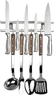 12 Inch Stainless Steel Magnetic Knife Holder & Space-Saving Strip for Kitchen Knives & Utensils, Office, Craft, Bar, Garage & Workshop Tools Wall Rack: Includes 4 Removable Hooks, Screws & Hardware