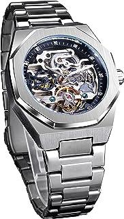 Forsining Fashion Automatic Mechanical Wristwatch Luxury Diamond Tourbillon Skeleton Watches for Men Silver Stainless Stee...