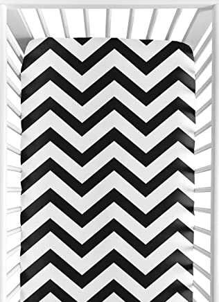 Fitted Crib Sheet for Black and White Chevron Collection Baby/Toddler Bedding by Sweet Jojo Designs - Zig Zag Print
