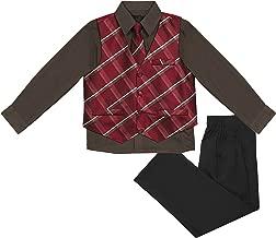 Vittorino Boys Jacquard 4 Piece Suit Set with Vest Pants Dress Shirt and Tie