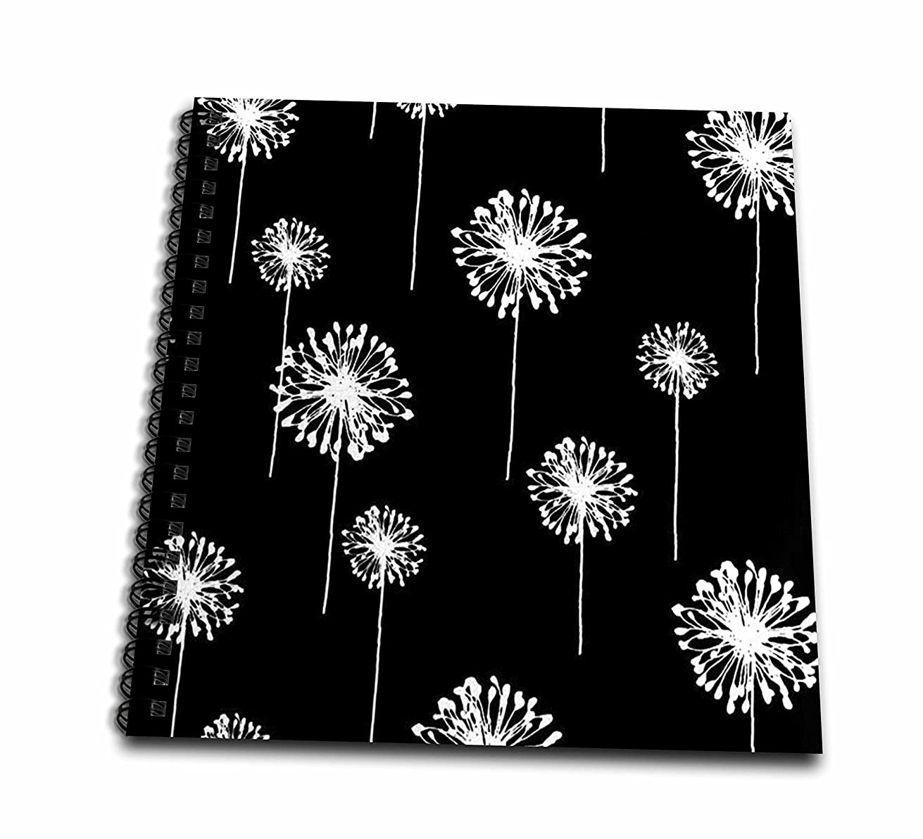 3dRose db_58590_1 Picturing Stylish Dandelions on White Background Drawing Book, 8 by 8-Inch