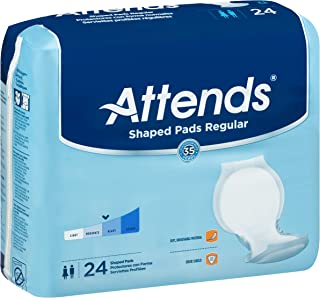 "Attends Shaped Pads with Odor-Shield Technology for Adult Incontinence Care, Regular, 24.5"" long, Unisex, 24 Count (Pack o..."