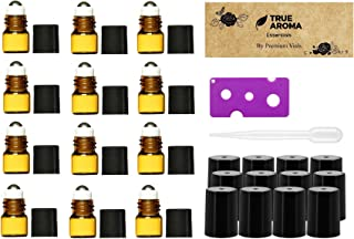 Premium Vials,12pcs, Amber, 1 ml (1/4 dram) Glass Roll-on Bottles with Stainless Steel Roller Balls - 1 Dropper and 1 Opener included, Refillable Aromatherapy Essential Oil Roll On (1ml)