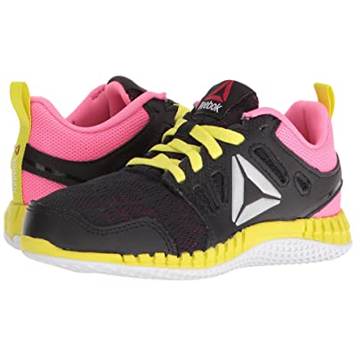 Reebok Kids ZPrint 3D (Little Kid) (Black/Poison Pink/Hero Yellow/Silver Metallic) Girls Shoes