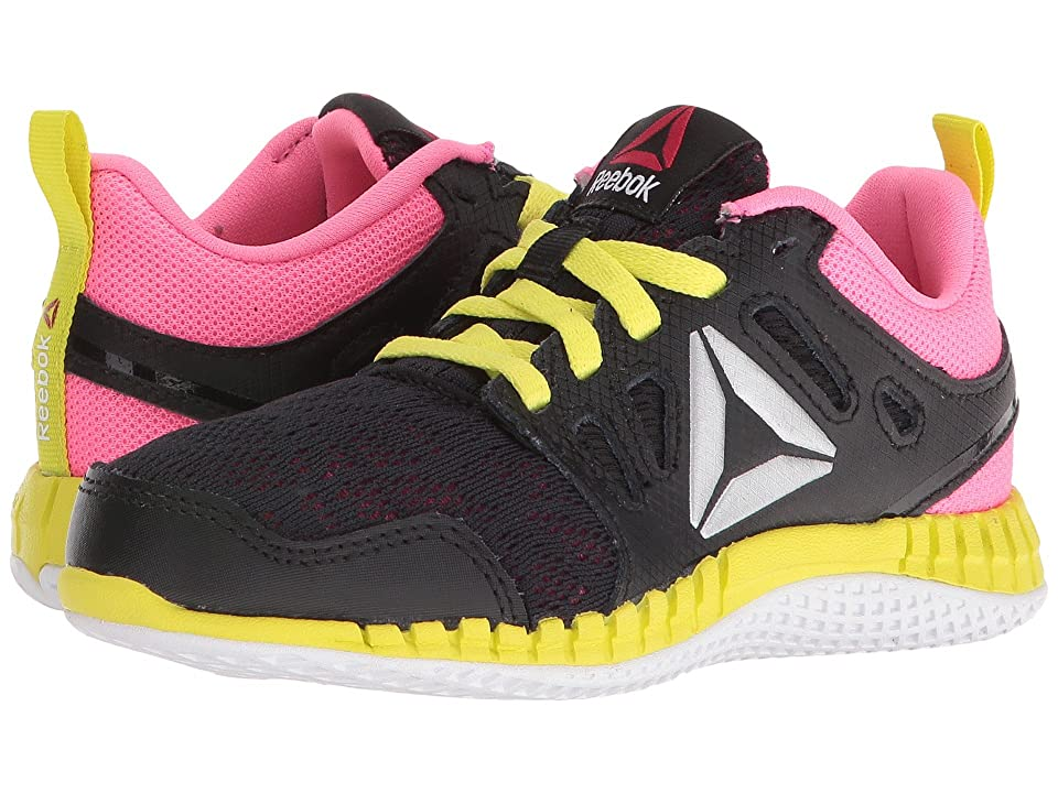 Reebok Kids ZPrint 3D (Little Kid) (Black/Poison Pink/Hero Yellow/Silver Metallic) Girls Shoes