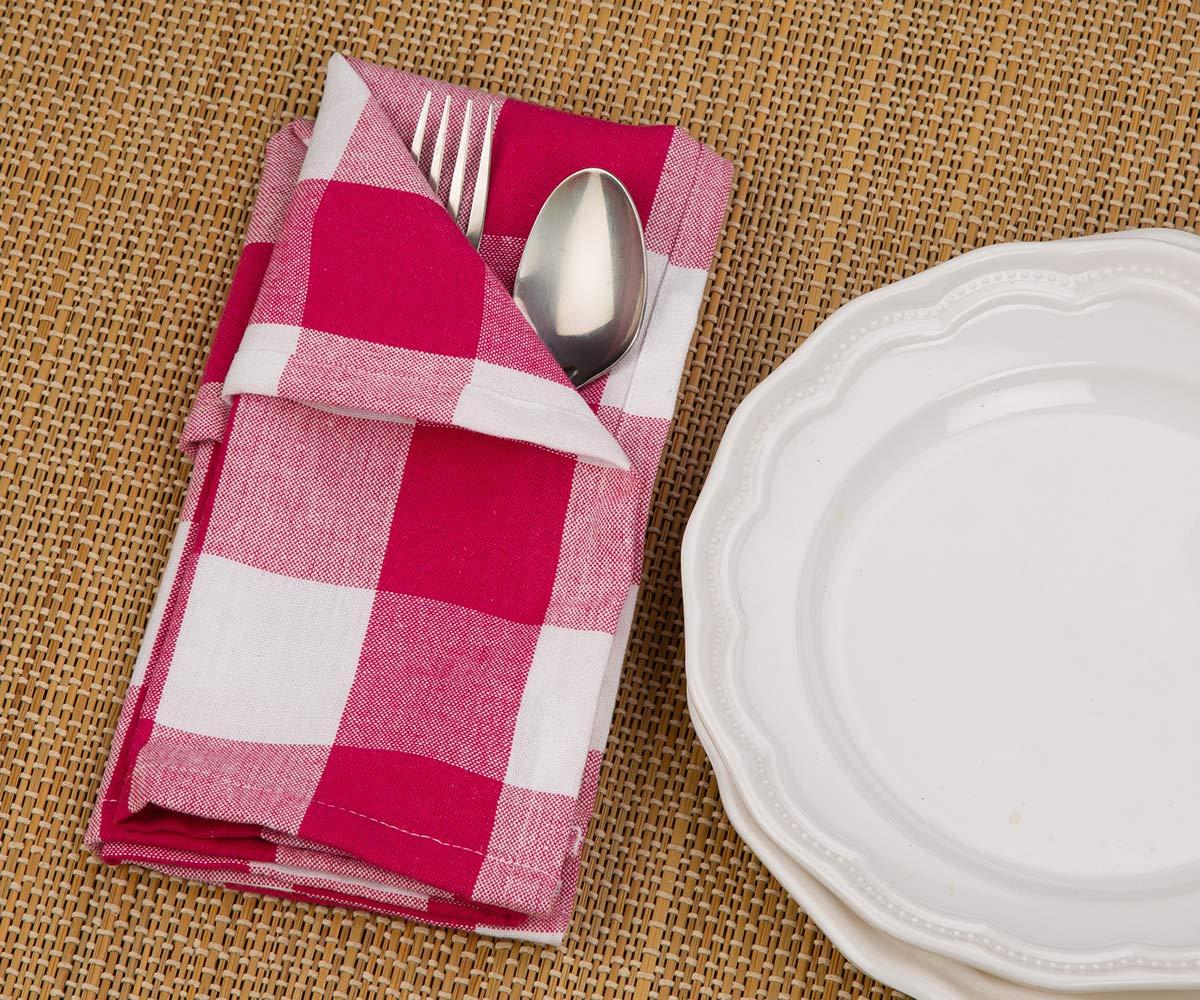 Servilletas de mesa de cuadros rosas, servilletas de tela de ...