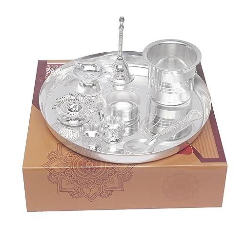 "GS Museum silver plated Daily 8"" pooja thali 8pcs.(25Cmx8Cmx25Cm)"