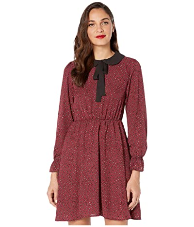 Unique Vintage Smak Parlour for Unique Vintage Print Neck Tie Fit-and-Flare Dress (Burgundy) Women