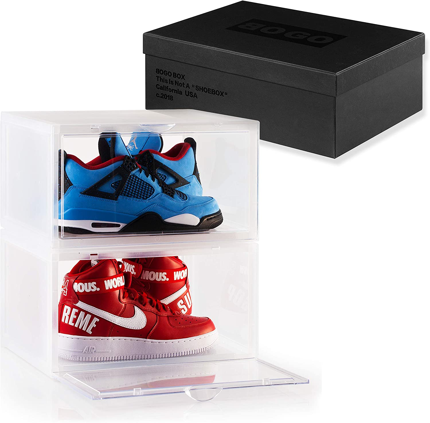 BOGO Free Shipping New BOX Set of 2 Clear Crates Sneaker Storag Plastic Max 43% OFF Shoe Box