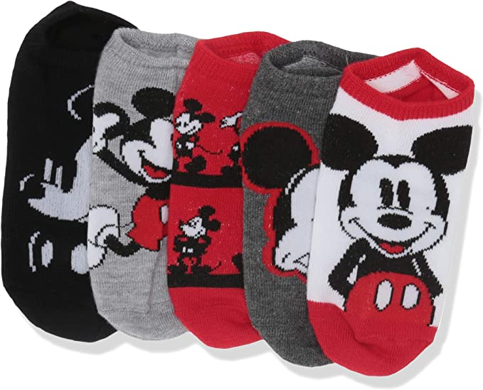 assorted neutral Disney Little Boys Mickey Mouse 5 Pack No Show Fits Sock Size 5-6.5 Fits Shoe Size 4-7