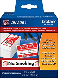"Brother Genuine DK-2251 Continuous Length Replacement Labels, Black/Red Label on White Paper Tape, Engineered with Excellence, 2.4"" x 50 feet, 1 Roll per Box"