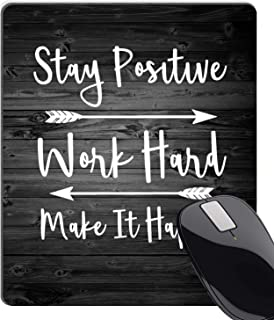 Wknoon Stay Positive Work Hard and Make It Happen Inspirational Quotes Mouse Pad Custom, Motivational Quote Rustic Black Old Wood Art White Mouse Pads