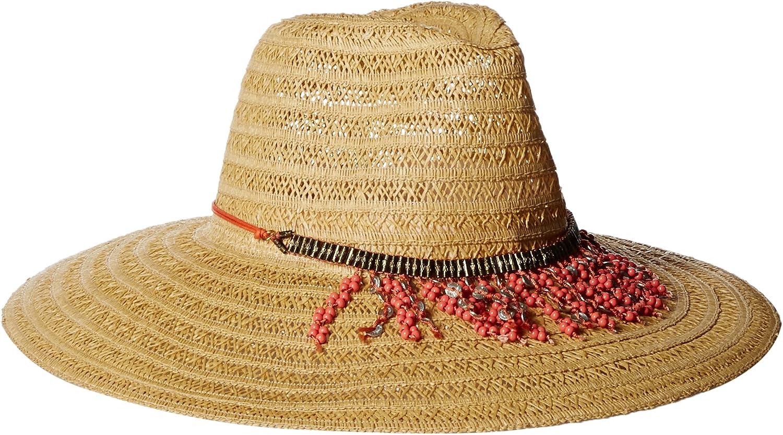 'ale by alessandra Women's Garapoba Ultralight Lace Straw Sun Hat with Beaded