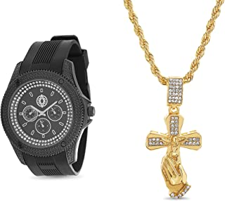 Akademiks Rubber Band Watch with Rhinestone Praying Hands Pendant Necklace Jewelry Set for Men (Various Colors)