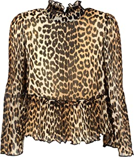 GANNI Luxury Fashion Womens F4049LEOPARD943 Brown Blouse | Fall Winter 19