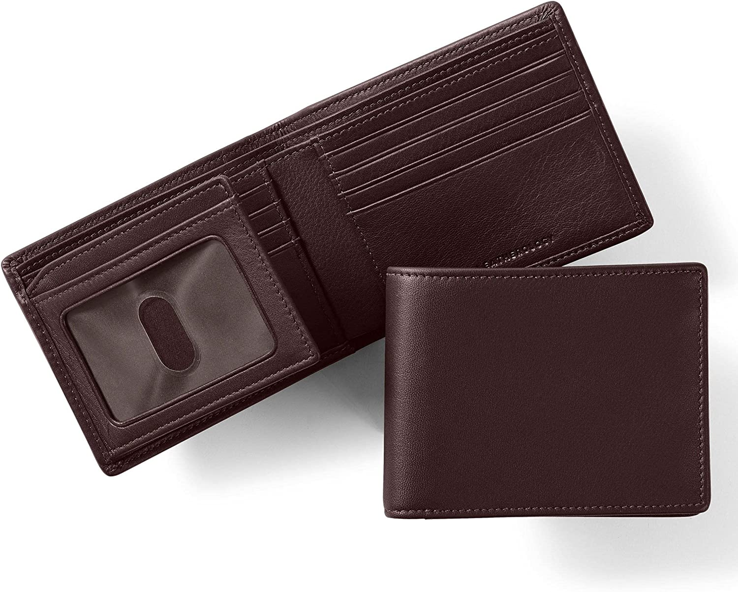 Leatherology Brown Men's Bifold Wallet with Card Flap ID Window - RFID Available