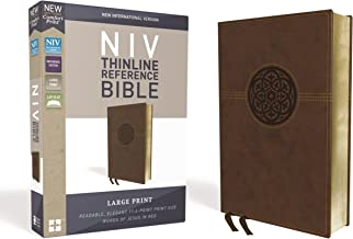 NIV, Thinline Reference Bible, Large Print, Leathersoft, Brown, Red Letter Edition, Comfort Print