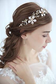 FXmimior - Fascia per capelli da sposa con fiore, accessorio per capelli dorato, accessorio per capelli da sposa, per matr...
