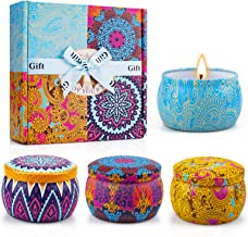 Yinuo Candle Women Scented Candles Set, 100% Soy Wax Portable Tin Candles, Stress Relief and Aromatherapy for Bath Yoga Th...