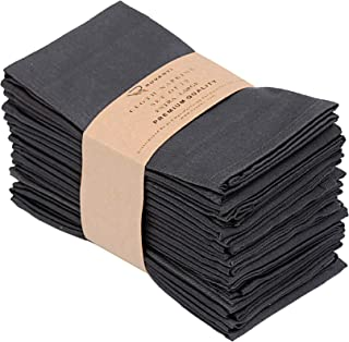 "Ruvanti Kitchen Cloth Napkins 12 Pack (18""X18""), Dinner Napkins Soft & Comfortable Reusable Napkins -Durable Gray Linen Napkins -Perfect Table Napkins/Dark Grey Napkins for Family Dinners, Weddings."