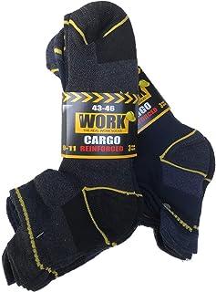 Lucchetti Socks Milano Calze da lavoro altezza caviglia 12 PAIA punta e tallone rinforzati protezione posteriore spugna di...