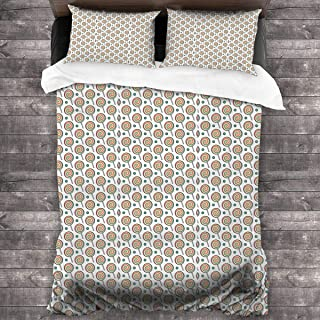 pengyong Duvet Cover Set Sweet Tooth Pattern(Candy) 3 Piece Bedding Set Comforter Set with 2 Pillow Shams Zipper-Extra Long Perfect for Any Bed Room Or Guest Room