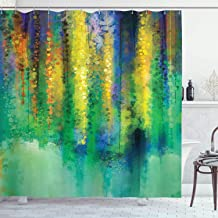 Ambesonne Watercolor Flower Shower Curtain, Abstract Style Spring Floral Watercolor Style Painting Image Nature Art, Cloth Fabric Bathroom Decor Set with Hooks, 70