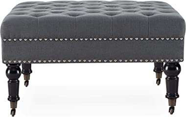 """BELLEZE 33"""" Square Tufted Button Bench Ottoman Nailhead Trim Linen Fabric Foot Rest Stool/Seat for Bedroom and Hallway, W"""