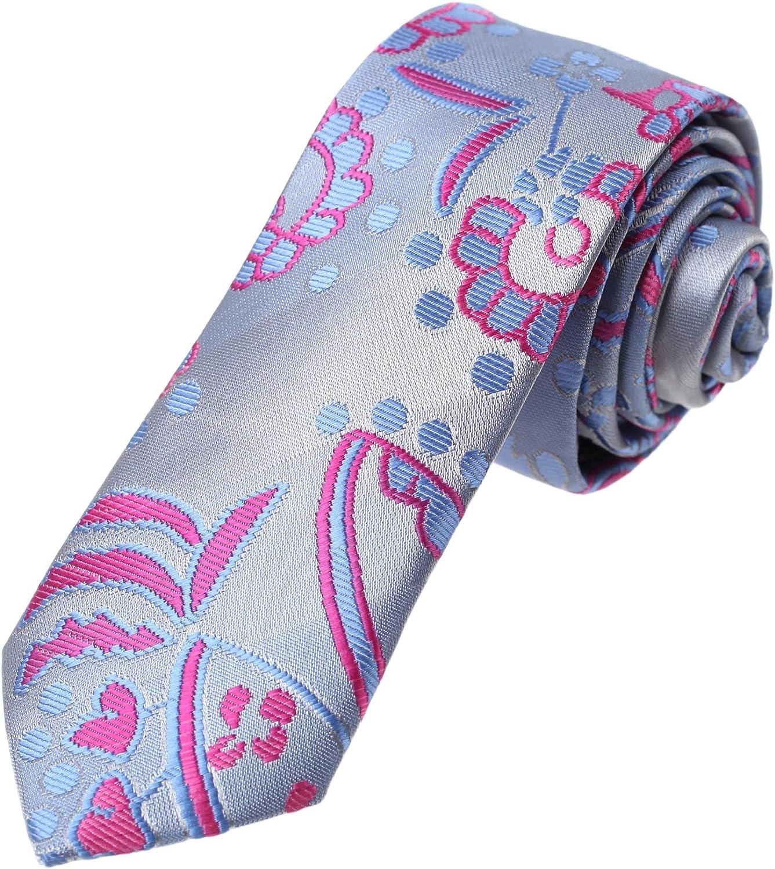 Dan Smith Patterned Slim Necktie B Microfiber Albuquerque 55% OFF Mall Skinny Tie Italian