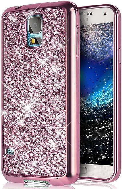Coque Galaxy S5 Mini,Surakey Samsung Galaxy S5 Mini Paillette Bling Glitter Ultra Mince Transparente Coque Silicone Gel TPU Souple Bumper Housse Etui ...