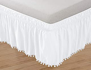 Elegant Comfort Top-Knot Tassle Pompom Fringe Ruffle Skirt Around Style Elastic Bed Wrap- Wrinkle Resistant 16inch Drop, Queen/King, White