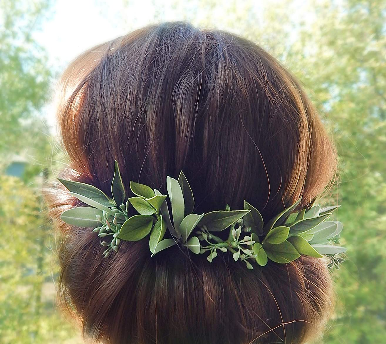 Floral Hair Pins with Green Leaves and Eucalyptus Seeded Set of 14 Greenery Handmade Headpiece