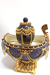 Antique Faberge Egg Authentic Goose Egg Decorated with Simulated Diamonds & Pearls Embellished with 24ct Gold Egg Faberge Figurine Musical Trinket Box Limited Edition Collectible Item