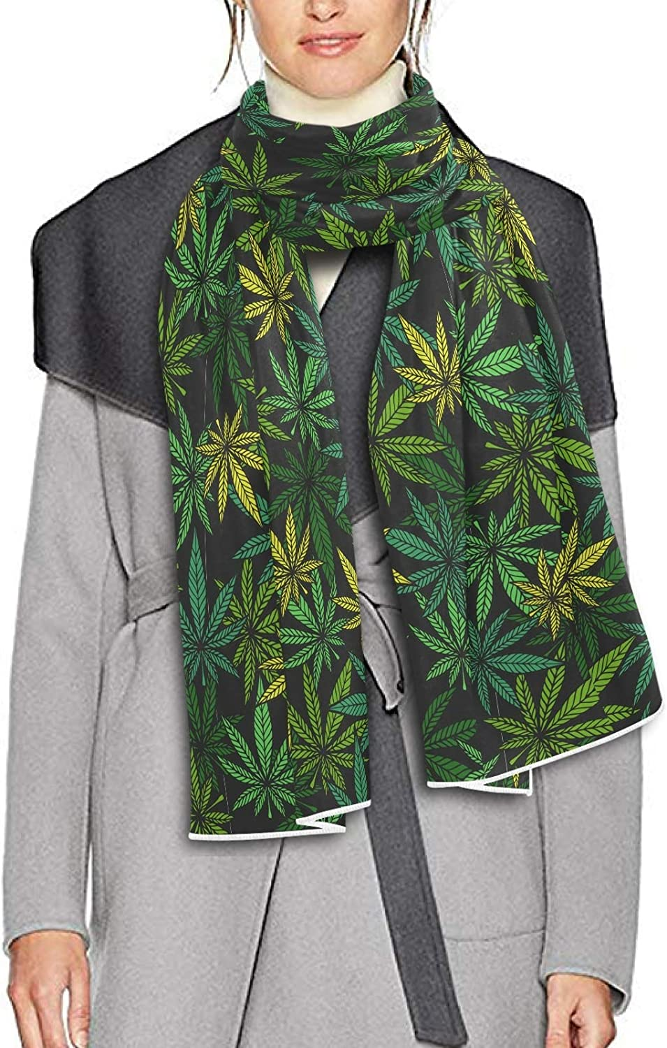 Scarf for Women and Men Marijuana Leaf Green Shawls Blanket Scarf wraps Thick Soft Winter Oversized Scarf Lightweight