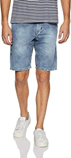 Amazon Brand - Symbol Men's Relaxed Fit Cotton Denim Shorts (AD-SHR-260_Medium Blue_28)