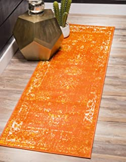 Unique Loom 3137819 Sofia Collection Traditional Vintage Beige Area Rug, 2' x 7' Runner, Orange