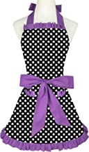 Zeronal Women Aprons with Pockets Cute Retro Lovely Vintage Lady's Kitchen Fashion Flirty Black Purple Patterns Valentine's Day