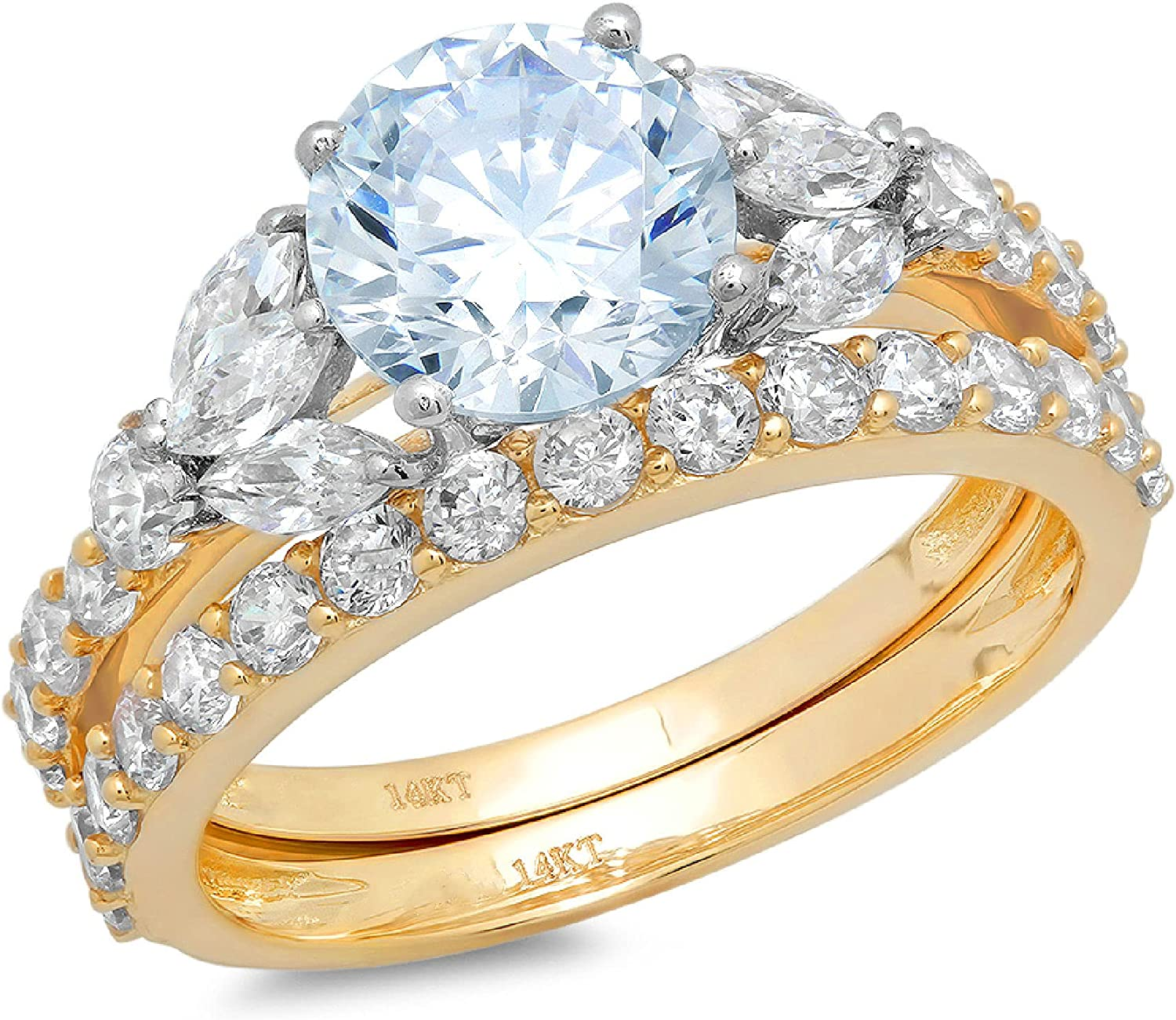 2.82 ct Round Marquise Cut Solitaire Cheap mail order shopping With stone 3 Genuine Houston Mall Accent