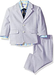 Baby Boys 4-Piece Suit Set with Dress Shirt, Jacket, Pants, and Tie