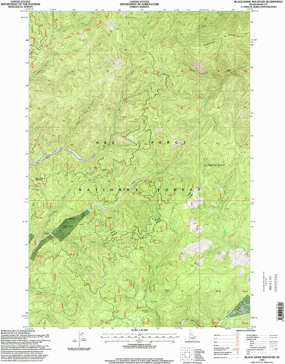 Black Hawk Mountain ID topo map, 1 24000 Scale, 7.5 X 7.5 Minute, Historical, 1995, Updated 1999, 26.8 x 22 in